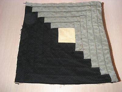 Antique Wool Log Cabin Quilt Block - Primitive Look - Projects - 11.5 Inch - #5