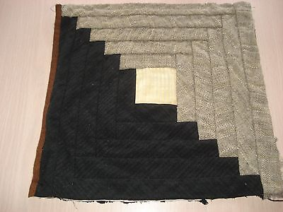 Antique Wool Log Cabin Quilt Block - Primitive Look - Projects - 11.5 Inch - #10