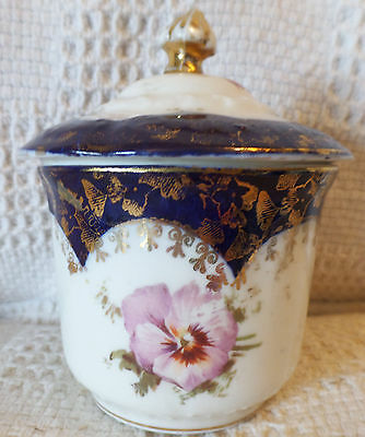 Victorian English Jam Pot w/Lid Violets and Gilt Decoration on Cobalt Blue/White