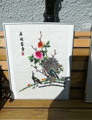 Vintage Oriental Embroidered Wall Hanging