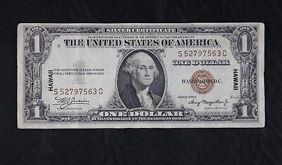 $1 HAWAII 1935A brown seal silver certificate S52797563C one dollar FREE SHIP.