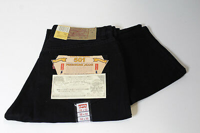 LEVI'S 501 BUTTON FLY BLACK JEANS - W32 L32 - made in USA