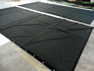 IN STOCK: Black Stage Curtain 15 H x 30 W, 20% OFF (horizontal & vertical seams)