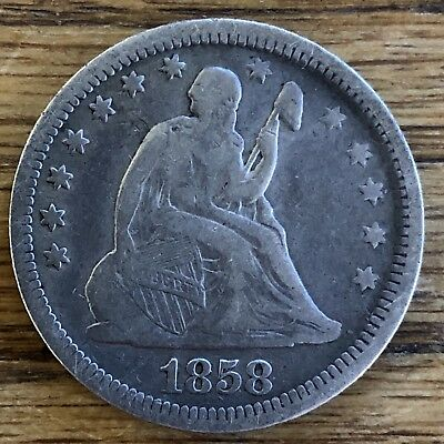 1858 Seated Liberty Quarter QUALITY TYPE EXAMPLE SHARP DETAILS ** NO RESERVE **!