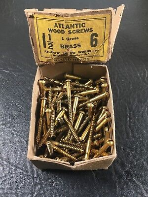 Vtg Atlantic #6 X 1 1/2 Inch Round Head BRASS SLOTTED Wood Screws 126 box