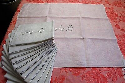 "SET 12 Antique French Linen Damask Napkins AB Monogram Serviettes 25""x30"" WHITE"