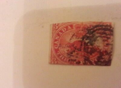 Canada 1851 Beaver 3d red #1 used