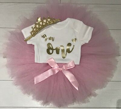 Baby Girls 1st First Birthday Pink Tutu Skirt Outfit Cake Smash Set & Tiara 9-12