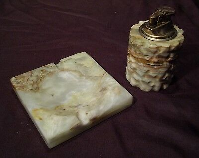 Briquet de table et son cendrier en pierre tendre onyx vintage 70's 80's