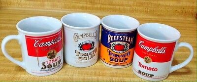 CAMPBELL SOUP Mugs Cups 125th anniversary set Of 4 Never Used