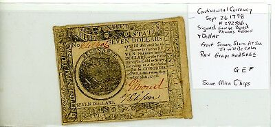 $7 SEPT 26,1778 CONTINENTAL CURRENCY Bond Edison Signed # 2406