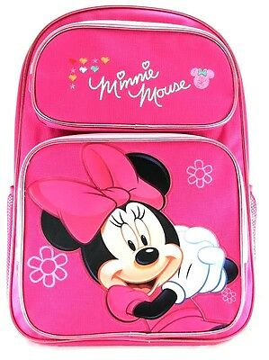 "Disney Minnie Mouse Girls 16"" Canvas Pink School Backpack"
