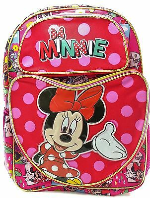 "Disney Minnie Mouse Girls 16"" Canvas Red & Pink School Backpack"