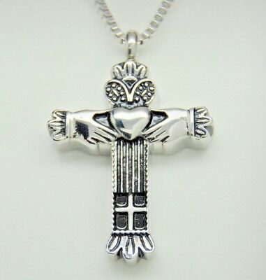 Claddagh Cross Cremation Urn Necklace, Ashes Keepsake, Celtic Memorial Jewelry