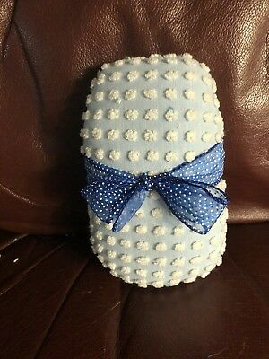 Handmade Blue White Dot Morgan Jones Antique Chenille Bedspread Easter Egg