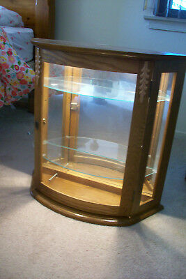 Vintage Decorative Wood and Glass Wall Curio Display Case Cabinet....lights