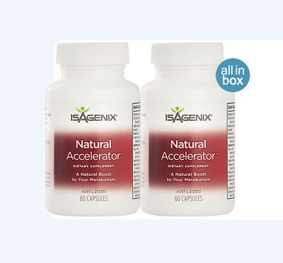 Isagenix Natural Accelerator Trio Pak: Metabolism Booster 60 Capsule Bottle x 2