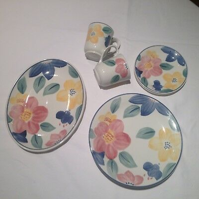 Crockery Set Marie By Johnson Brothers Flower Pattern 9 Pieces