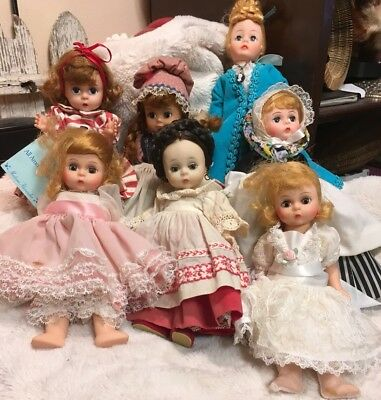 """LOT 7 Madame Alexander 8"""" and one 10"""" dolls parts or repair TLC"""