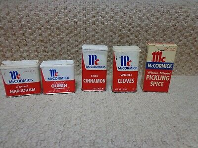 Lot of 5 Vintage  McCormick Spice Tins & Boxes, used