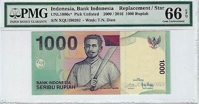 Indonesia, 2000 / 2016 1,000 Rupiah PUnlisted PMG 66 EPQ  ((Scarce Replacement))