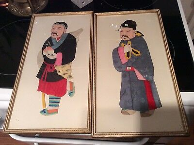 Set Of  Chinese Old Hand Made Silk Pictures Rare Must See