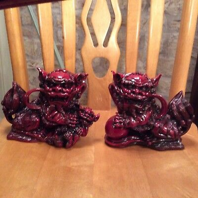 Chinese Pair 8 Inch Foo Dogs,red Heavy ,rare Good Quality