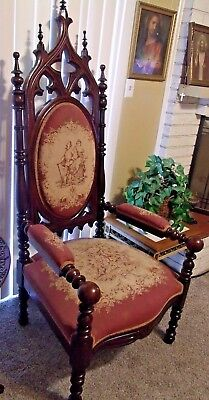 Massive Antique Gothic Arm Throne Chair Possible 1800s