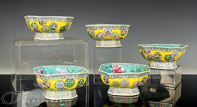 Set Of 5 Old Chinese Glazed Porcelain Bowls With Roundels On Yellow Ground