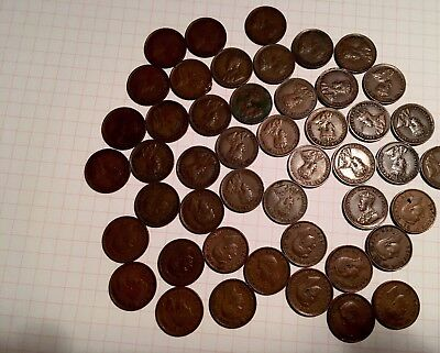 Lot of 48 CANADIAN Small ONE CENT 1920 to 1952 King GEORGE V & George VI coins