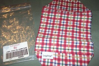 Longaberger Liner Only Picnic Pal Cherry Plaid New In Bag