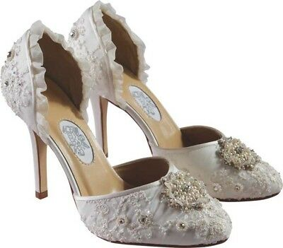 New & Boxed Diane Hassall Pearl Drift Embellished Satin Heels Ivory - UK 7/40