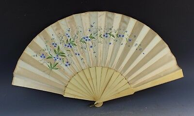 Antique Chinese Carved Cow Bovine Bone Hand Painted Silk Hand Fan