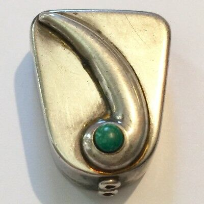 ANTIQUE Sterling Silver PILL BOX Turquoise TRINKET SNUFF Box