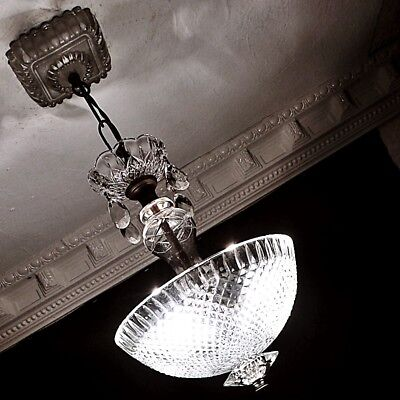 CRYSTAL ALL GLASS 30s VINTAGE ART DECO ANTIQUE Ceiling Light Fixture CHANDELIER