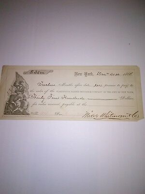 Old 1866 Check/Promissory Note New York