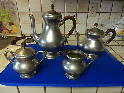 Vintage Royal Holland KMD Pewter Daalderop Coffee Tea Sugar Creamer Service Set