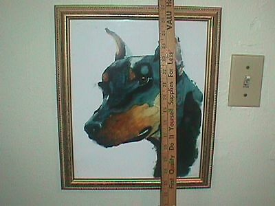 DOBERMAN Dog PICTURE Print Watercolor 13 x 16