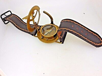 Compass/Sundial, Wrist Instrument, Solid Brass, New with Tag.  EXC+++++