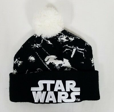 15937655709 STAR WARS BEANIE Hat Black White Knit with Pom Pom Embroidery Winter ...