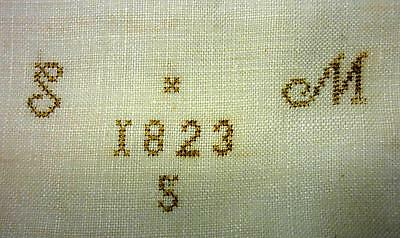 "Linen Pillow Case - 1823 - Initials  ""s"" And ""m' Fantastic Detailed  Embroidery"