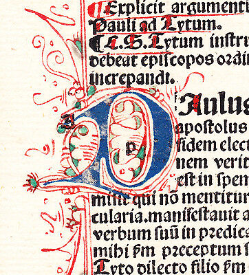 1 Leaf 1500 Incunabula Latin Medieval Bible Blue Red Green + Very ORNATE Initial