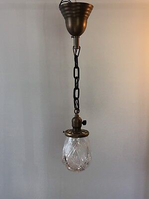"23"" Brass Pendant Fixture Light With Beautiful Glass Globe Antique Vintage 20B"