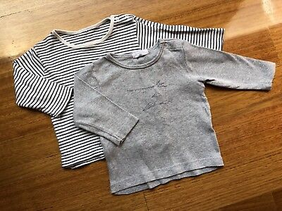 PUREBABY 2 X Long Sleeved Tops - Size 00 (3-6 Mths)