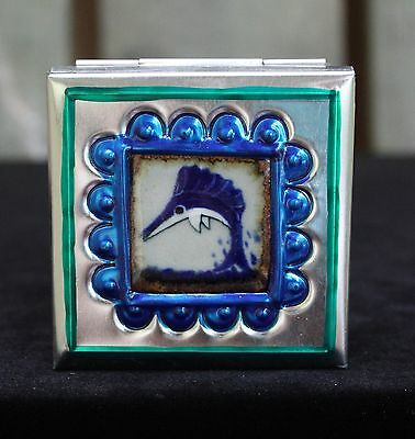 Small Tin Box & Ceramic Tile of Swordfish by Tirso Cuevas Mexico Folk Art Oaxaca