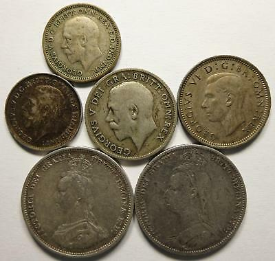 No reserve! Great Britain Silver Coin lot, Victoria and George V coins