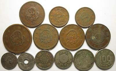 No reserve! Japan older coins lot, 1/2, 1, and 5 sen coins + 2 silver coins