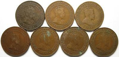 No reserve! Canada Edward VII Large Cent coin lot, 1900's to 1910
