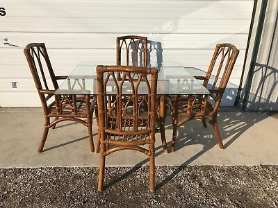 Dining Set Rattan Faux Bamboo Chairs Table Hollywood Regency Chinese Chippendale