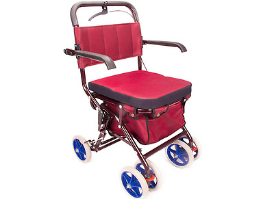 Red Six Wheels Convenient Foldable Shopping Luggage Trolleys With Seat *